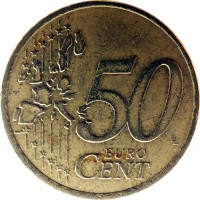 reverse of 50 Euro Cent - 1'st Map (2002 - 2006) coin with KM# 37 from Ireland. Inscription: 50 EURO CENT LL
