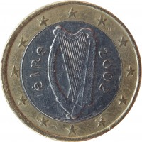 obverse of 1 Euro - 1'st Map (2002 - 2006) coin with KM# 38 from Ireland. Inscription: éIRe 2002