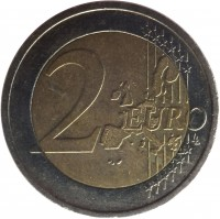 reverse of 2 Euro - 1'st Map (2002 - 2006) coin with KM# 39 from Ireland. Inscription: 2 EURO LL