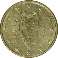obverse of 10 Euro Cent - 2'nd Map (2007 - 2015) coin with KM# 47 from Ireland. Inscription: éIRe 2008