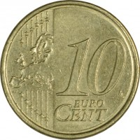 reverse of 10 Euro Cent - 2'nd Map (2007 - 2015) coin with KM# 47 from Ireland. Inscription: 10 EURO CENT LL