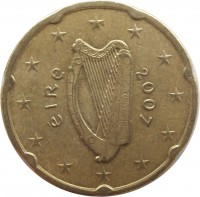 obverse of 20 Euro Cent - 2'nd Map (2007 - 2015) coin with KM# 48 from Ireland. Inscription: éIRe 2007