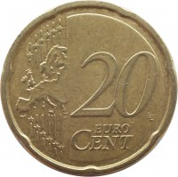 reverse of 20 Euro Cent - 2'nd Map (2007 - 2015) coin with KM# 48 from Ireland. Inscription: 20 EURO CENT LL