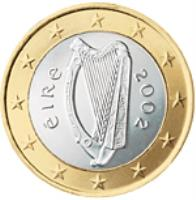 obverse of 1 Euro - 2'nd Map (2007 - 2015) coin with KM# 50 from Ireland. Inscription: éIRe 2007