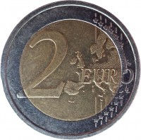 reverse of 2 Euro - 2'nd Map (2007 - 2016) coin with KM# 51 from Ireland. Inscription: 2 EURO LL