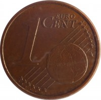 reverse of 1 Euro Cent - Henri I (2002 - 2015) coin with KM# 75 from Luxembourg. Inscription: 1 EURO CENT LL