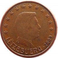 obverse of 5 Euro Cent - Henri I (2002 - 2015) coin with KM# 77 from Luxembourg. Inscription: LËTZEBUERG 2009