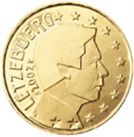 obverse of 10 Euro Cent - Henri I - 1'st Map (2002 - 2006) coin with KM# 78 from Luxembourg. Inscription: LËTZEBUERG 2002 GC