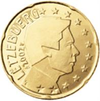 obverse of 20 Euro Cent - Henri I - 1'st Map (2002 - 2006) coin with KM# 79 from Luxembourg. Inscription: LËTZEBUERG 2005 GC