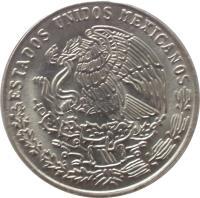 obverse of 20 Centavos (1974 - 1983) coin with KM# 442 from Mexico. Inscription: ESTADOS UNIDOS MEXICANOS