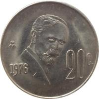 reverse of 20 Centavos (1974 - 1983) coin with KM# 442 from Mexico. Inscription: 20c 1977 Mo