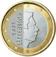 obverse of 1 Euro - Henri I - 1'st Map (2002 - 2006) coin with KM# 81 from Luxembourg. Inscription: 2002 LËTZEBUERG GC
