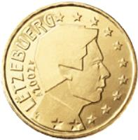 obverse of 50 Euro Cent - Henri I - 2'nd Map (2007 - 2015) coin with KM# 91 from Luxembourg. Inscription: LËTZEBUERG 2007 GC F