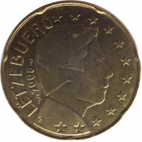obverse of 20 Euro Cent - Henri I - 2'nd Map (2007 - 2015) coin with KM# 90 from Luxembourg. Inscription: LËTZEBUERG 2008 GC F