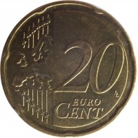 reverse of 20 Euro Cent - Henri I - 2'nd Map (2007 - 2015) coin with KM# 90 from Luxembourg. Inscription: 20 EURO CENT LL