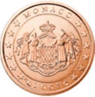 obverse of 1 Euro Cent - Rainier III (2001 - 2005) coin with KM# 167 from Monaco. Inscription: MONACO 2001