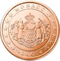 obverse of 5 Euro Cent - Rainier III (2001 - 2005) coin with KM# 169 from Monaco. Inscription: MONACO 2001