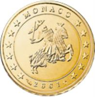 obverse of 10 Euro Cent - Rainier III - 1'st Type; 1'st Map (2001 - 2004) coin with KM# 170 from Monaco. Inscription: MONACO 2001