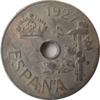 obverse of 25 Centimos - Alfonso XIII (1927) coin with KM# 742 from Spain. Inscription: 1927 ESPAÑA