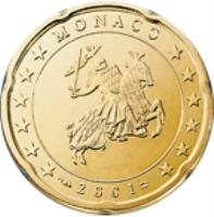 obverse of 20 Euro Cent - Rainier III - 1'st Type; 1'st Map (2001 - 2004) coin with KM# 171 from Monaco. Inscription: MONACO 2001