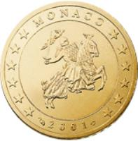 obverse of 50 Euro Cent - Rainier III - 1'st Type; 1'st Map (2001 - 2004) coin with KM# 172 from Monaco. Inscription: MONACO 2001