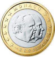 obverse of 1 Euro - Rainier III (2001 - 2004) coin with KM# 173 from Monaco. Inscription: MONACO 2002