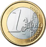 reverse of 1 Euro - Rainier III (2001 - 2004) coin with KM# 173 from Monaco. Inscription: 1 EURO LL