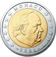 obverse of 2 Euro - Rainier III (2001 - 2004) coin with KM# 174 from Monaco. Inscription: MONACO 2002