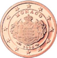 obverse of 1 Euro Cent - Albert II - 2'nd Type (2006 - 2014) coin with KM# 188 from Monaco. Inscription: MONACO 2006