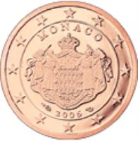 obverse of 2 Euro Cent - Albert II - 2'nd Type (2006 - 2014) coin with KM# 189 from Monaco. Inscription: MONACO 2006