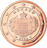 obverse of 5 Euro Cent - Albert II - 2'nd Type (2006 - 2014) coin with KM# 190 from Monaco. Inscription: MONACO 2006