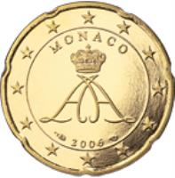 obverse of 20 Euro Cent - Albert II - 2'nd Type; 1'st Map (2006) coin with KM# 182 from Monaco. Inscription: MONACO 2006