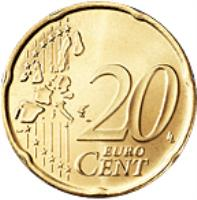reverse of 20 Euro Cent - Albert II - 2'nd Type; 1'st Map (2006) coin with KM# 182 from Monaco. Inscription: 20 EURO CENT LL