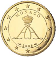 obverse of 50 Euro Cent - Albert II - 2'nd Type; 1'st Map (2006) coin with KM# 183 from Monaco. Inscription: MONACO 2006