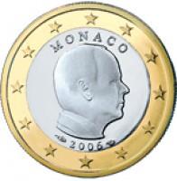 obverse of 1 Euro - Albert II - 1'st Map (2006) coin with KM# 184 from Monaco. Inscription: MONACO 2006