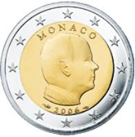 obverse of 2 Euro - Albert II - 1'st Map (2006) coin with KM# 185 from Monaco. Inscription: MONACO 2006
