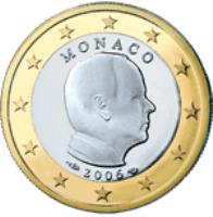 obverse of 1 Euro - Albert II - 2'nd Map (2007 - 2014) coin with KM# 194 from Monaco. Inscription: MONACO 2007