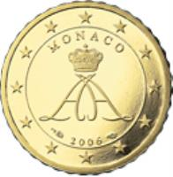obverse of 10 Euro Cent - Albert II - 2'nd Type; 2'nd Map (2007 - 2014) coin with KM# 191 from Monaco. Inscription: MONACO 2009