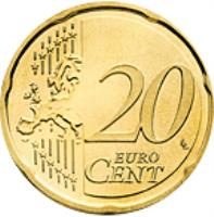 reverse of 20 Euro Cent - Albert II - 2'nd Type; 2'nd Map (2007 - 2014) coin with KM# 192 from Monaco. Inscription: 20 EURO CENT LL