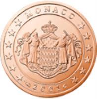 obverse of 2 Euro Cent - Rainier III (2001 - 2005) coin with KM# 168 from Monaco. Inscription: MONACO 2001