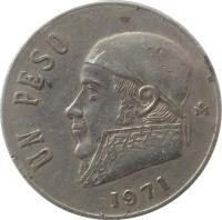 reverse of 1 Peso (1970 - 1984) coin with KM# 460 from Mexico. Inscription: UN PESO 1972 M