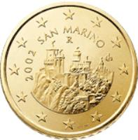 obverse of 50 Euro Cent - 1'st Map (2002 - 2007) coin with KM# 445 from San Marino. Inscription: 2006 SAN MARINO R Ch ELF INC.