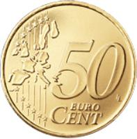 reverse of 50 Euro Cent - 1'st Map (2002 - 2007) coin with KM# 445 from San Marino. Inscription: 50 EURO CENT LL