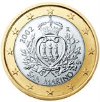 obverse of 1 Euro - 1'st Map (2002 - 2007) coin with KM# 446 from San Marino. Inscription: 2002 R LIBERTAS Ch SAN MARINO ELF INC.
