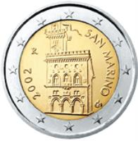 obverse of 2 Euro - 1'st Map (2002 - 2007) coin with KM# 447 from San Marino. Inscription: 2007 R SAN MARINO Ch ELF INC.