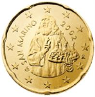 obverse of 20 Euro Cent - 2'nd Map (2008 - 2015) coin with KM# 483 from San Marino. Inscription: SAN MARINO 2008 Ch R ELF INC.