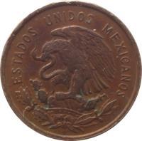 obverse of 10 Centavos (1955 - 1967) coin with KM# 433 from Mexico. Inscription: ESTADOS UNIDOS MEXICANOS