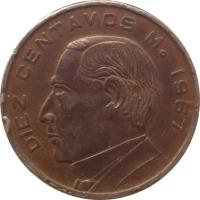reverse of 10 Centavos (1955 - 1967) coin with KM# 433 from Mexico. Inscription: DIEZ CENTAVOS M. 1959