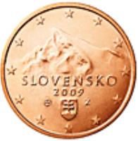 obverse of 1 Euro Cent (2009 - 2015) coin with KM# 95 from Slovakia. Inscription: SLOVENSKO 2009 Z