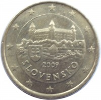 obverse of 10 Euro Cent (2009 - 2015) coin with KM# 98 from Slovakia. Inscription: SLOVENSKO JC PK 2009